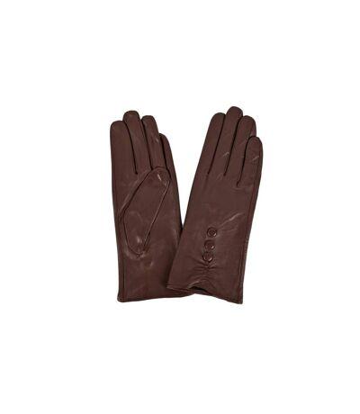 Eastern Counties Leather - Gants en cuir avec détails boutons - Femme (Marron) - UTEL213