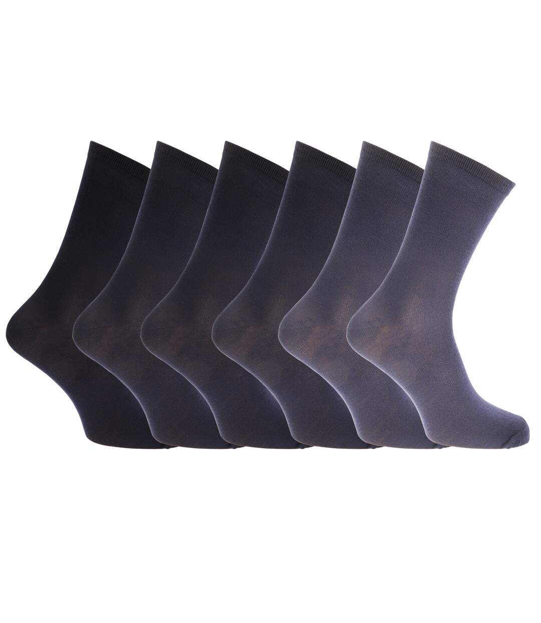 Mens Plain Socks With Ribbed Top (Pack Of 6) (Navy/Grey) - UTMB300