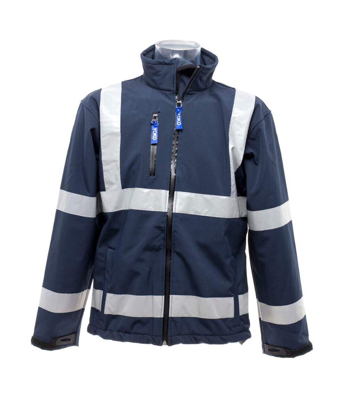 Yoko Mens Hi-Vis Sofshell Jacket (Navy Blue) - UTBC1246