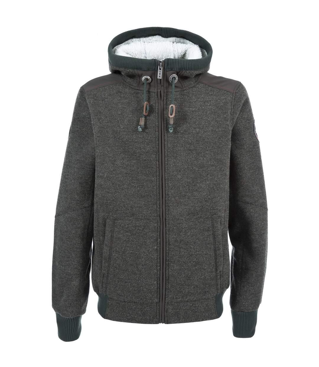 Trespass Mens Mathis Full Zip Knitted Fleece Jacket (Khaki Marl) - UTTP1292