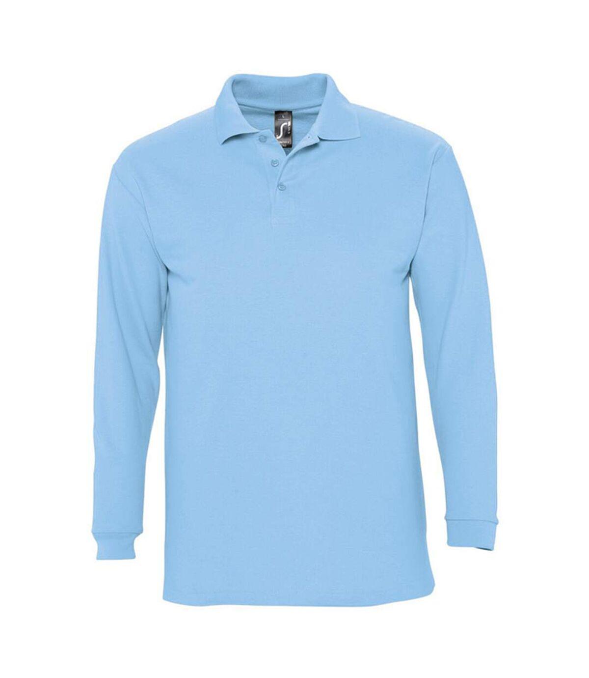 SOLS Mens Winter II Long Sleeve Pique Cotton Polo Shirt (Sky) - UTPC329
