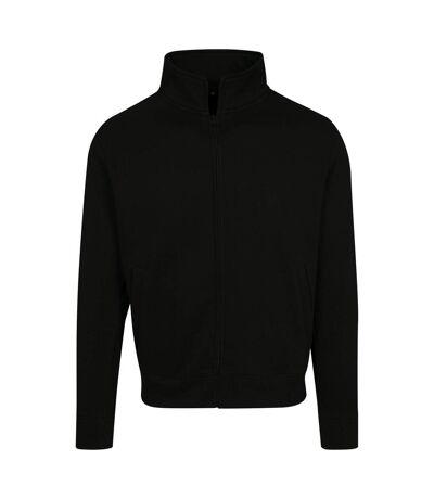 Build Your Brand Mens High Neck Zip Sweat Cardigan (Black) - UTRW7711
