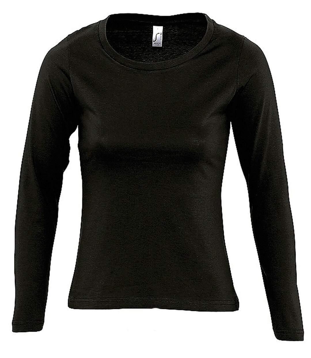 Dégagement T-shirt manches longues FEMME 11425 noir dsf.d455nksdKLFHG