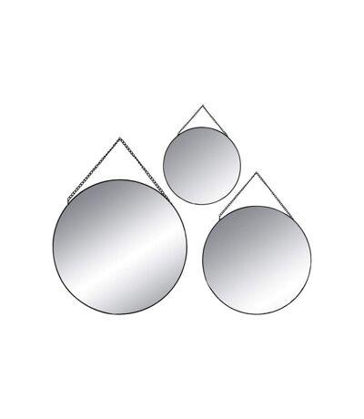 Lot de 3 Miroirs Métal Ronds 29cm Noir