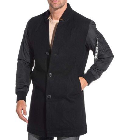 Manteau en laine noir manche matelassé