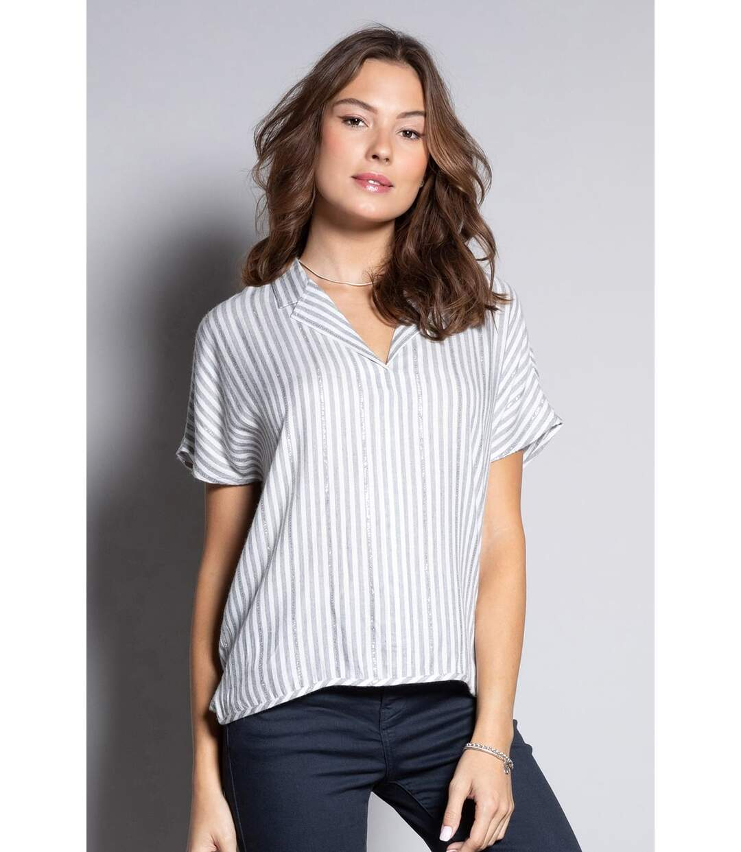 Blouse oversize à rayures LOU Stripes Lurex