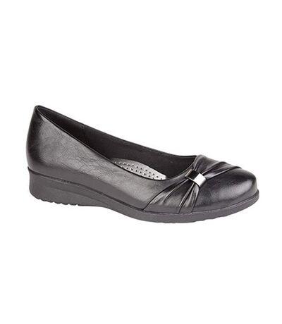 Boulevard Womens/Ladies Sash Vamp Wedge Casual Shoes (Black) - UTDF1019