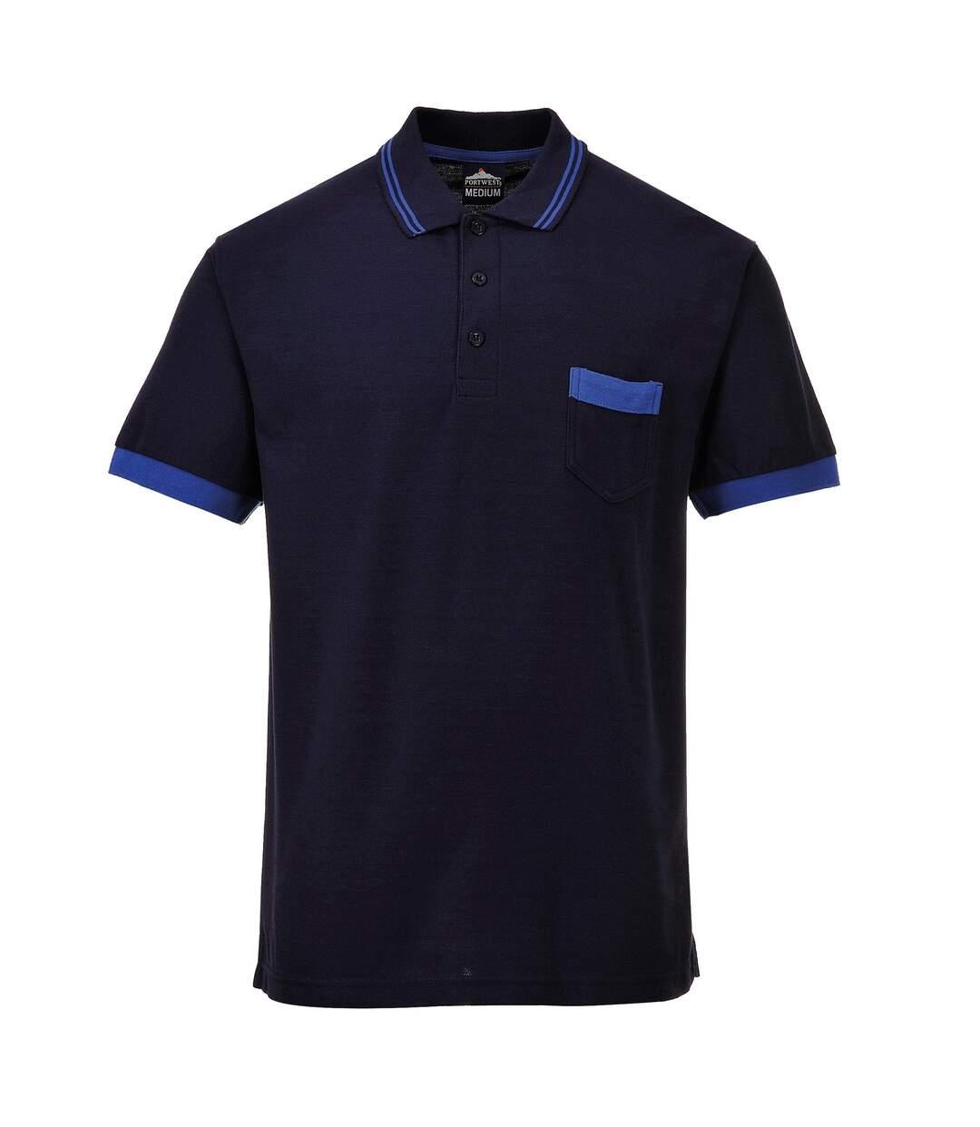 Portwest Mens Texo Short Sleeve Contrast Polo Shirt (Navy/ Royal) - UTRW5443