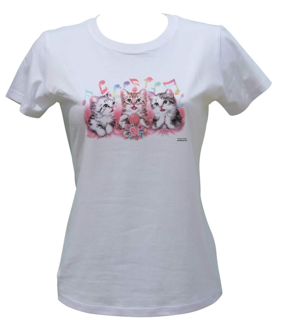 Dégagement T-shirt femme manches courtes Chats solar 11774 blanc dsf.d455nksdKLFHG