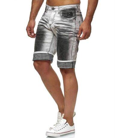 Short bermuda blanc en jeans à revers et effet usé noir pour homme