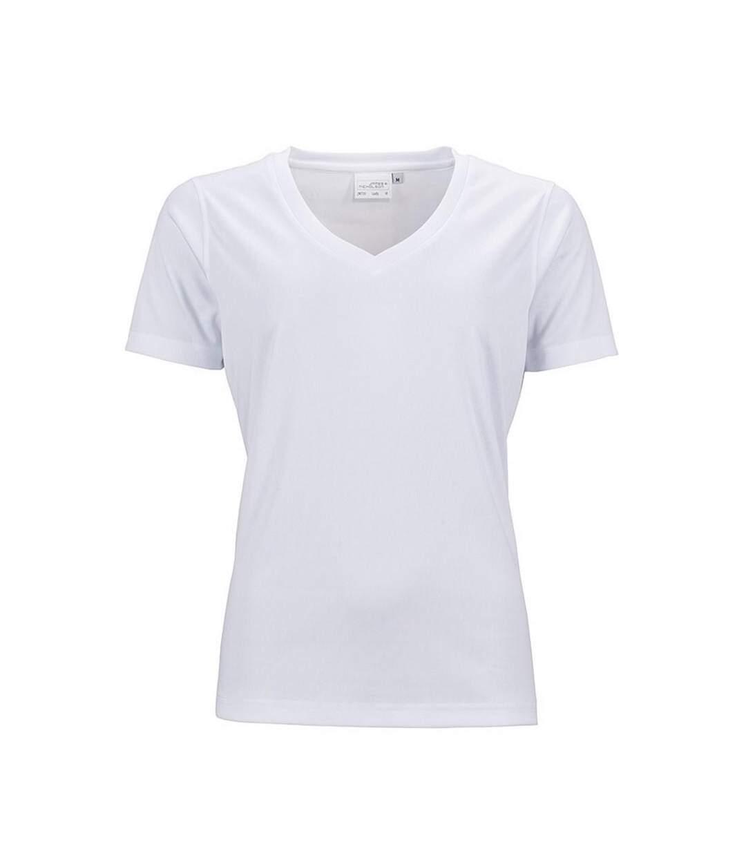 James And Nicholson - T-Shirt Col En V - Femme (Blanc) - UTFU221