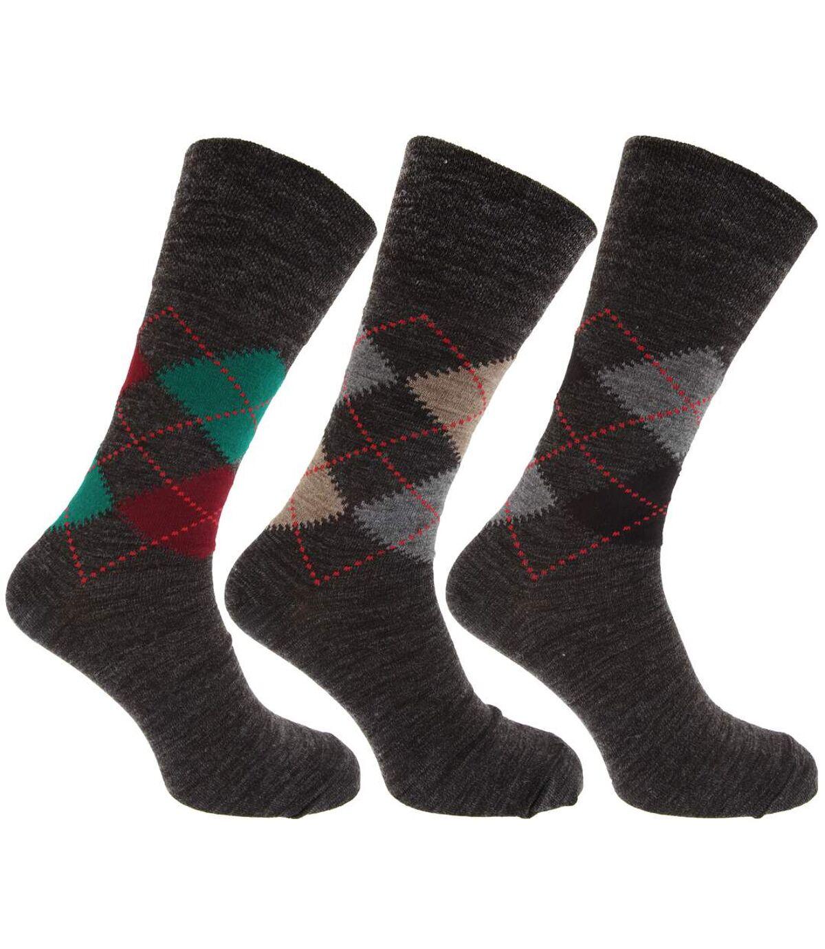 Mens Traditional Argyle Pattern Non Elastic Lambs Wool Blend Socks (Pack Of 3) (Shades of Grey) - UTMB276