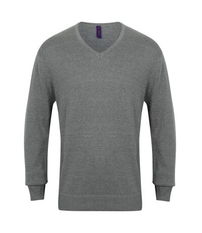 Henbury Mens 12 Gauge Fine Knit V-Neck Jumper / Sweatshirt (Slate Grey Marl) - UTRW659