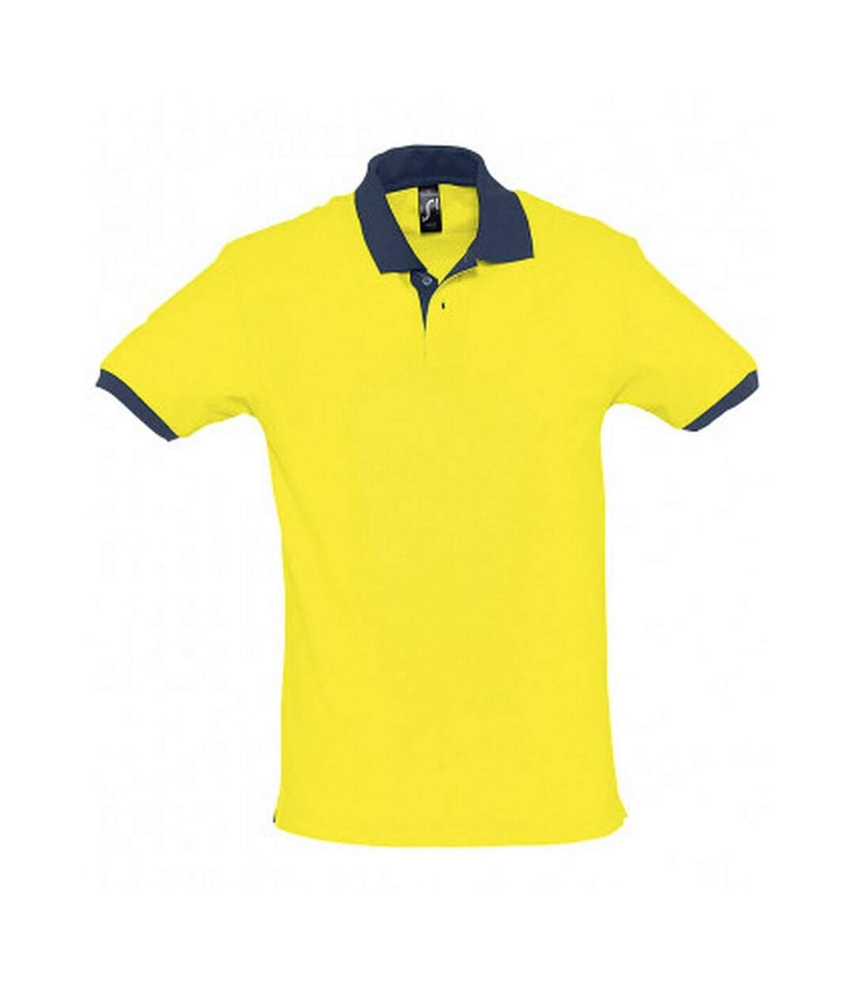 SOLS Prince Unisex Contrast Pique Short Sleeve Cotton Polo Shirt (Lemon/French Navy) - UTPC323