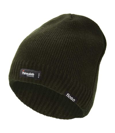 FLOSO Mens Plain Thinsulate Thermal Knitted Waterproof Winter Hat (Navy) - UTHA427