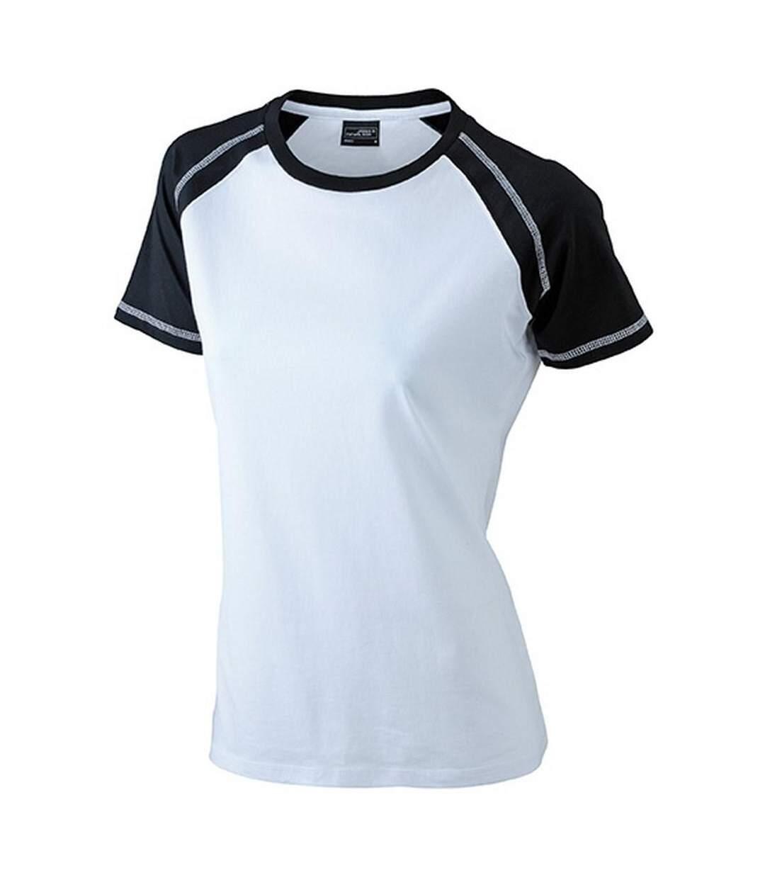 James And Nicholson - T-Shirt Bicolore - Femme (Blanc / noir) - UTFU366