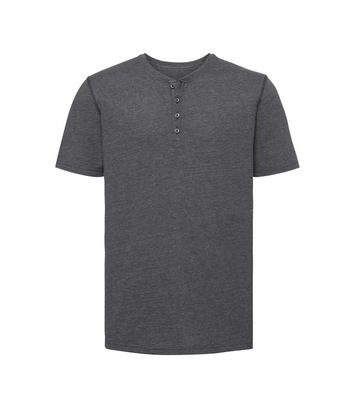 Russell - T-shirt manches courtes HENLEY - Homme (Gris chiné) - UTPC3636