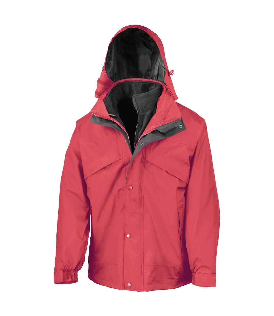 Result Mens 3 In 1 Zip And Clip StormDri Waterproof Windproof Jacket (Red) - UTBC930
