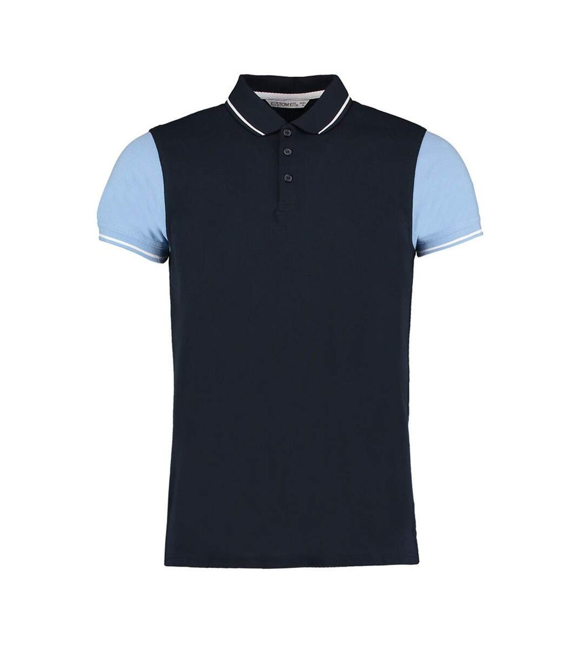 Kustom Kit Mens Two Tone Contrast Tipped Polo Shirt (Navy/Light Blue/White) - UTBC3728