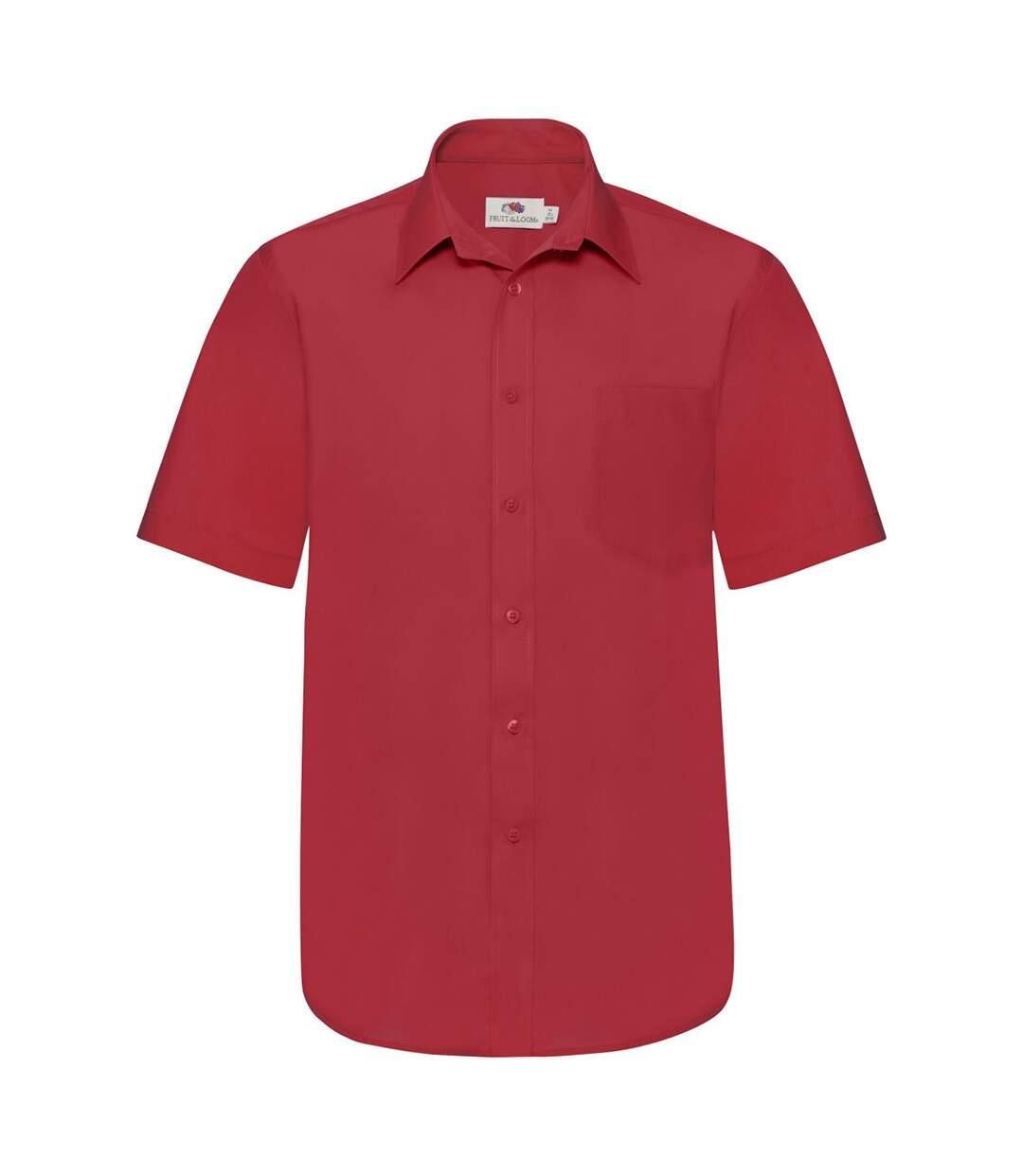 Fruit Of The Loom Mens Short Sleeve Poplin Shirt (Red) - UTBC404