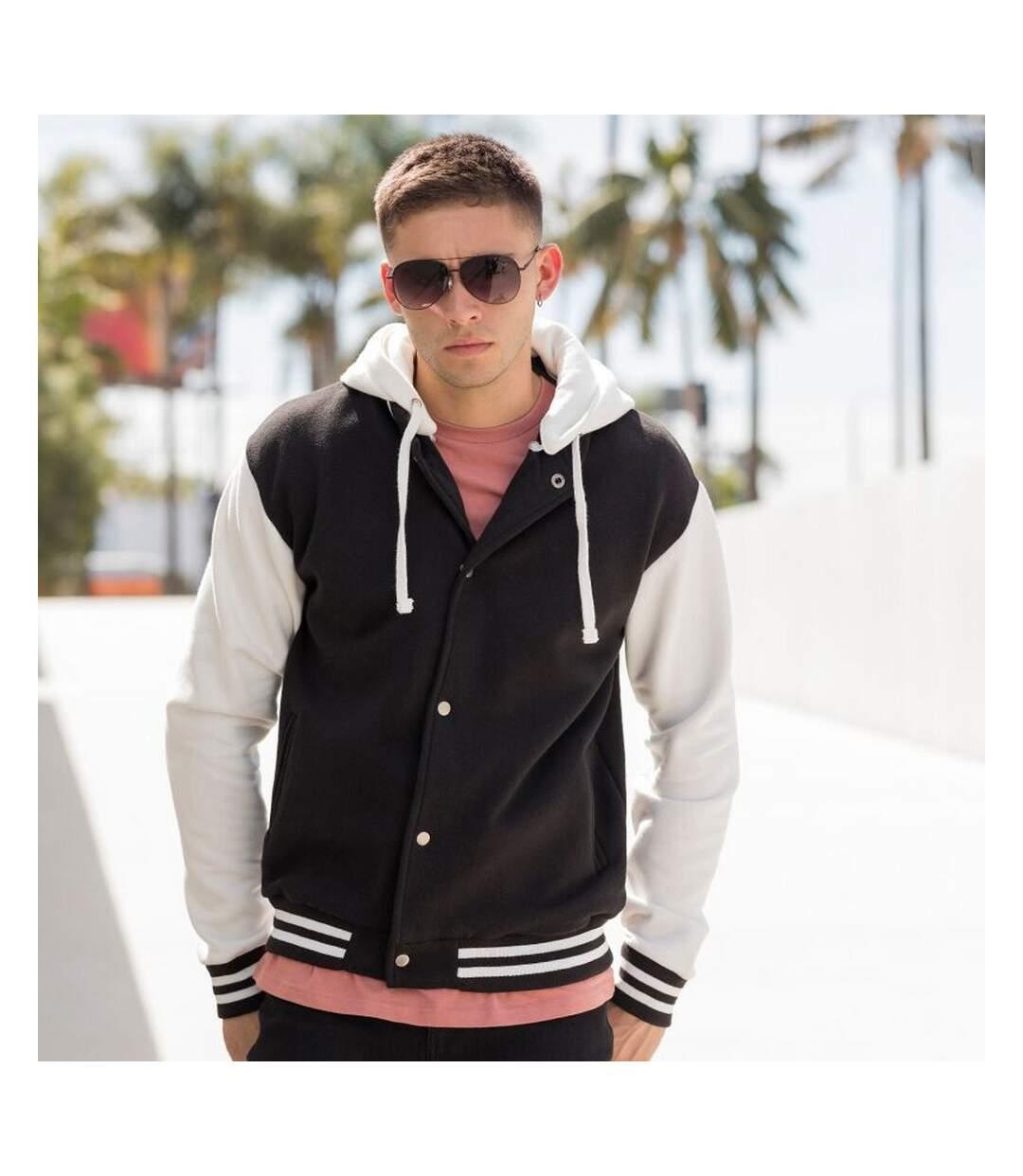 Skinni Fit Mens Heavy Weight Baseball Jacket With Detachable Hood (Black/Off White) - UTRW1395