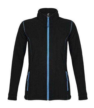 Veste micropolaire zippée femme - 00587 - noir et aqua