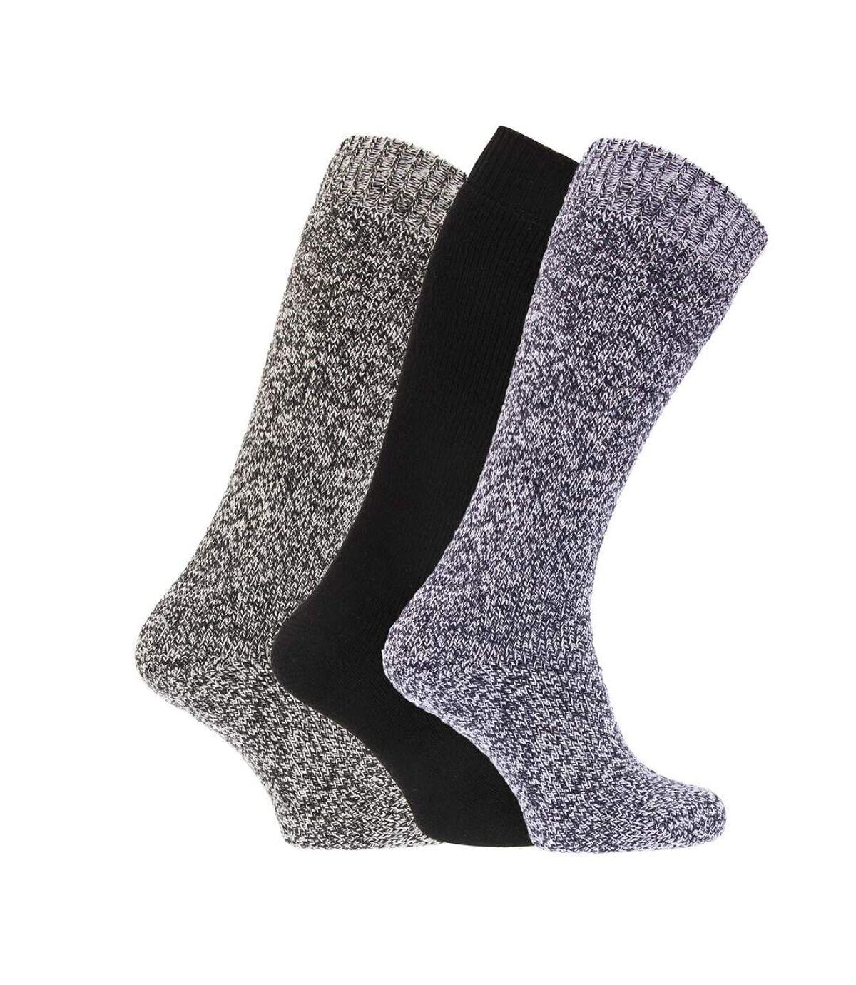 Mens Thermal Wool Blend Long Wellington Boot Socks (Pack Of 3) (Grey/ Navy) - UTMB147