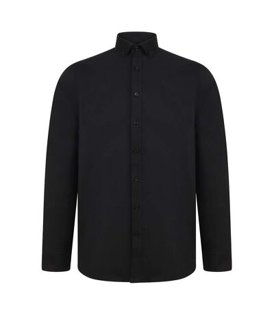 Henbury Mens Modern Long Sleeve Oxford Shirt (Black) - UTPC3834