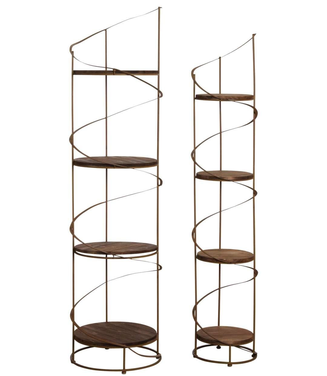 Étagère ronde en bois et métal (Lot de 2)
