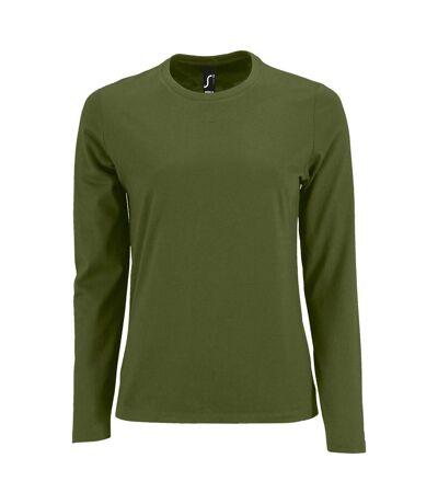 SOLS Womens/Ladies Imperial Long Sleeve T-Shirt (Dark Khaki) - UTPC2906