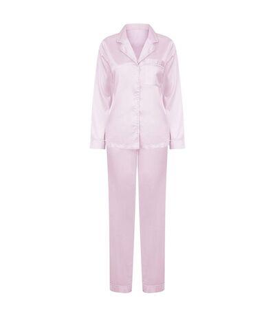 Towel City Womens/Ladies Satin Long PJ Set (Light Pink) - UTPC4071