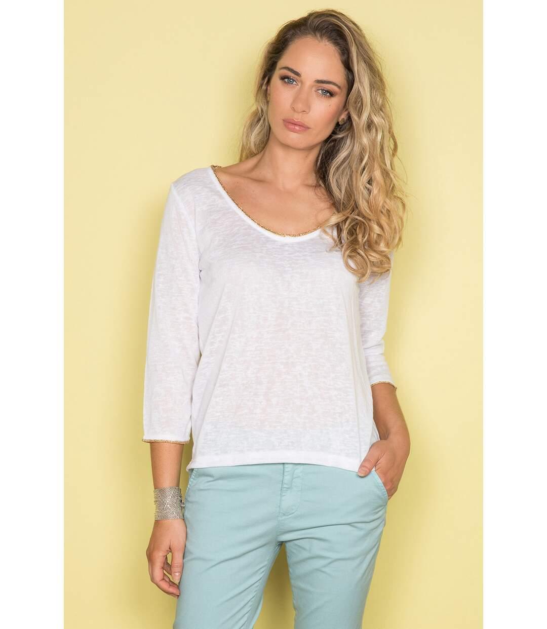 T-shirt uni avec dos en dentelle SANTINI Off White