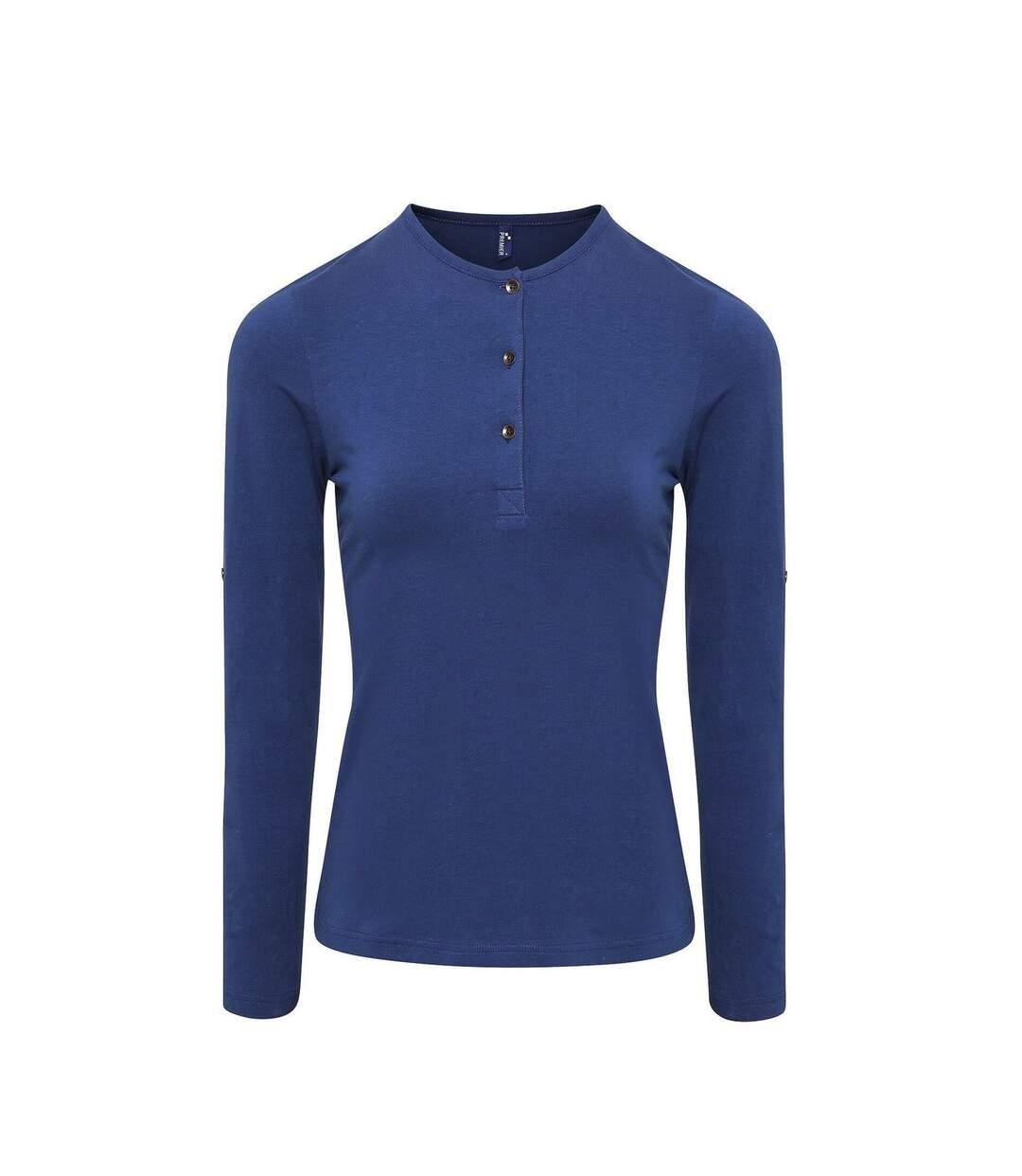 Dégagement T-shirt henley manches retroussables Femme PR318 bleu indigo dsf.d455nksdKLFHG