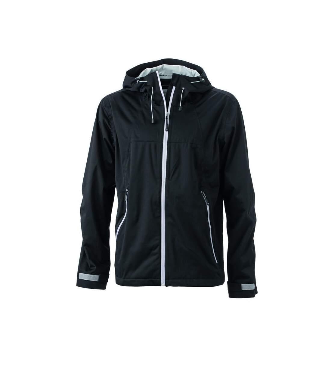 Veste softshell à capuche - homme JN1098 noir argent - coupe-vent imperméable