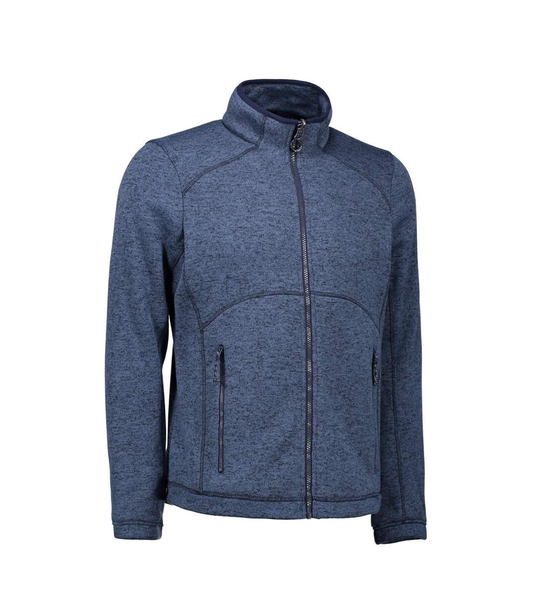 ID Mens Zip N Mix Full Zip Melange Fleece (Grey Melange) - UTID427