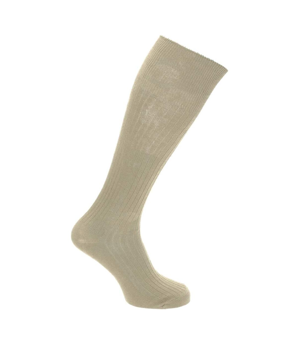 Mens 100% Cotton Ribbed Knee High Socks (Pack Of 3) (Brown/Light Grey/Cream) - UTMB489