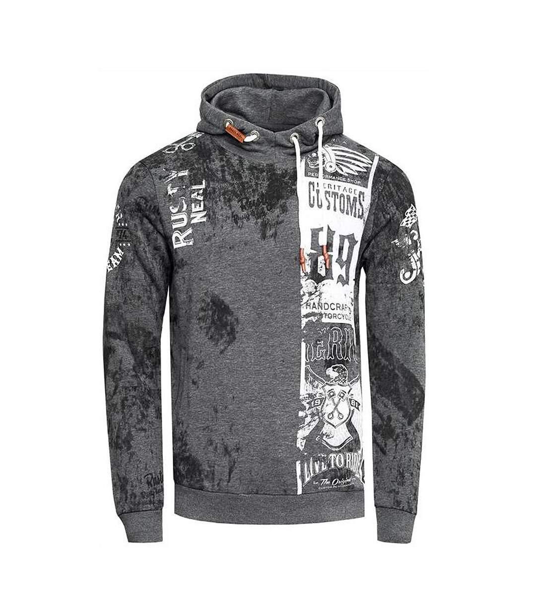 Sweat gris anthracite imprimé usé vintage custom avec aigles hoodie à capuche homme
