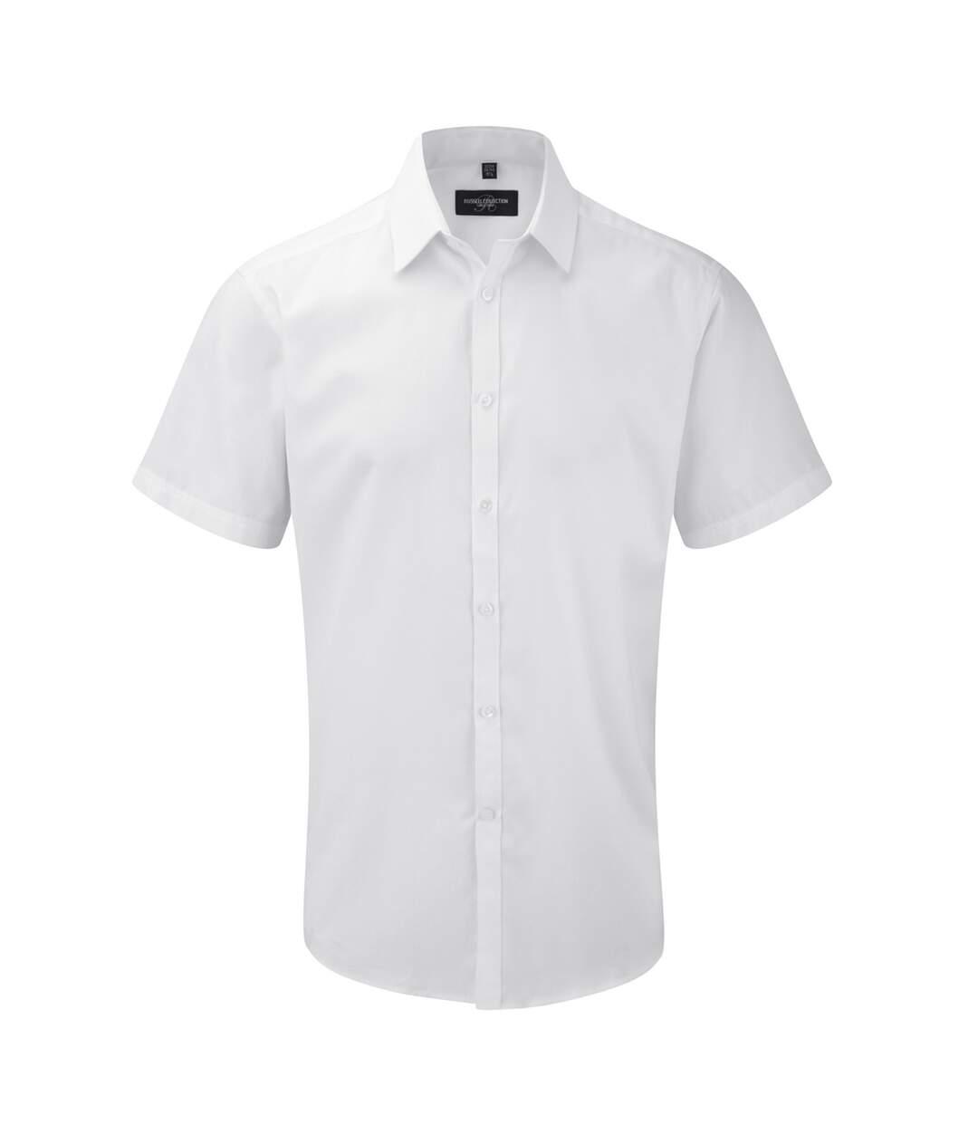 Russell Mens Short Sleeve Herringbone Work Shirt (White) - UTBC2743