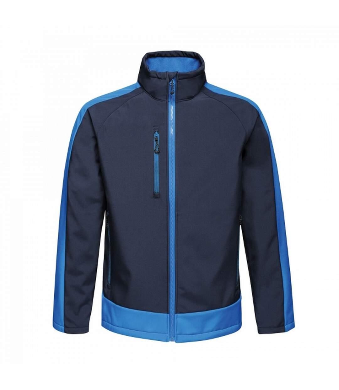 Regatta Mens Contrast 3 Layer Softshell Full Zip Jacket (Black Blue/Light Blue) - UTRG3747