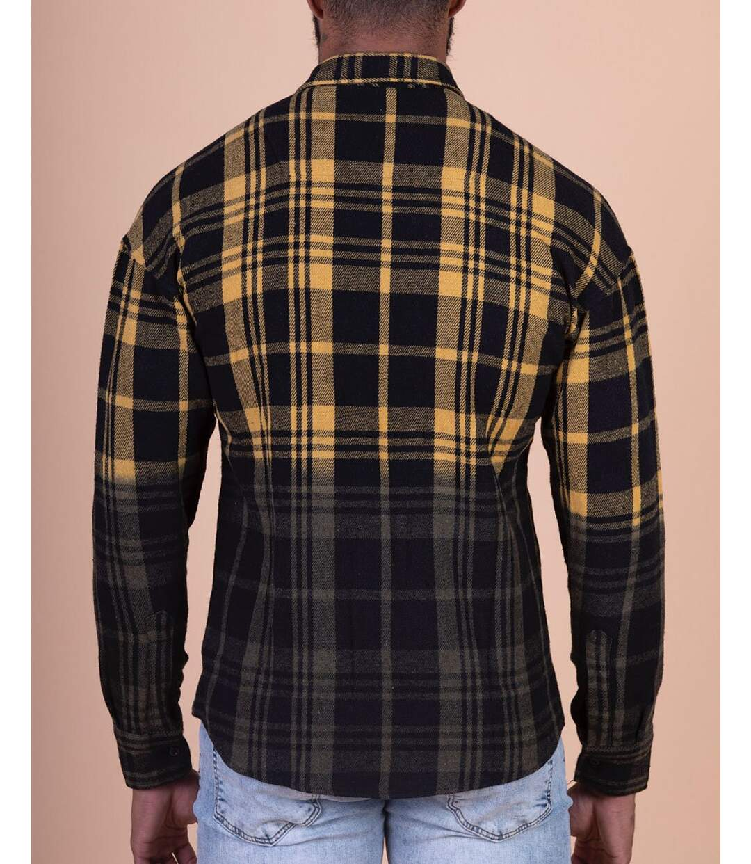 Chemise épaisse à motifs carreaux et coloris dégradé jaune noir pour homme