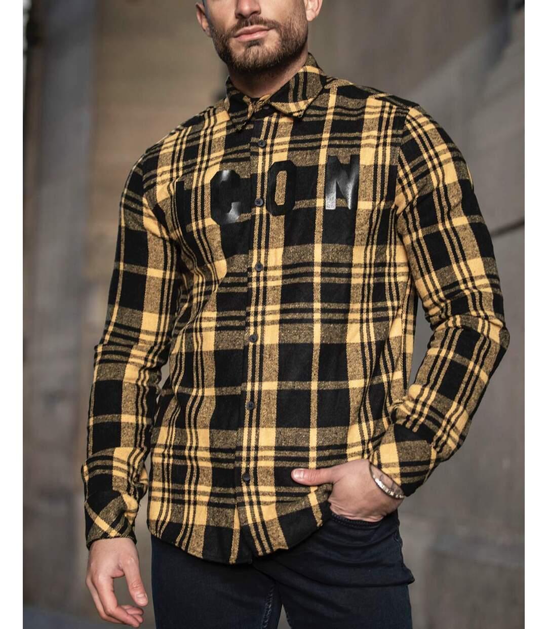 Chemise tendance à motifs carreaux type surchemise jaune et noir pour homme