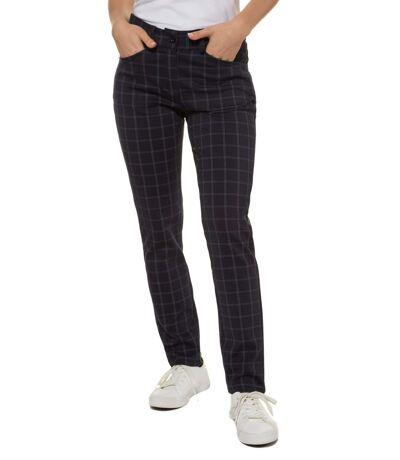 Gina Laura pantalon à carreaux forme étroite forme étroite infroissable stretch sky NEW, fashionable