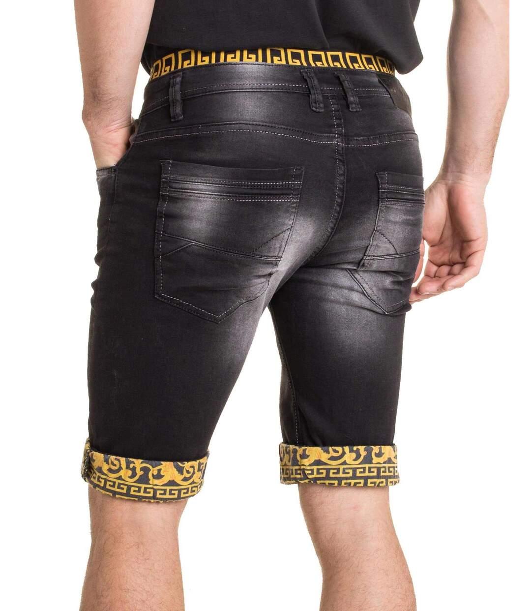 Bermuda short homme en jean noir délavé revers