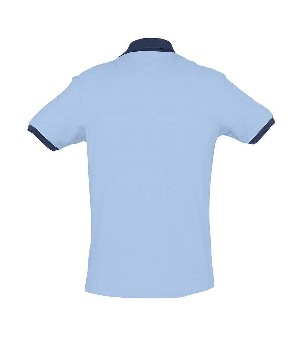 SOLS Prince Unisex Contrast Pique Short Sleeve Cotton Polo Shirt (Sky Blue/French Navy) - UTPC323