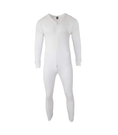 FLOSO Mens Thermal Underwear All In One Union Suit (White) - UTTHERM45