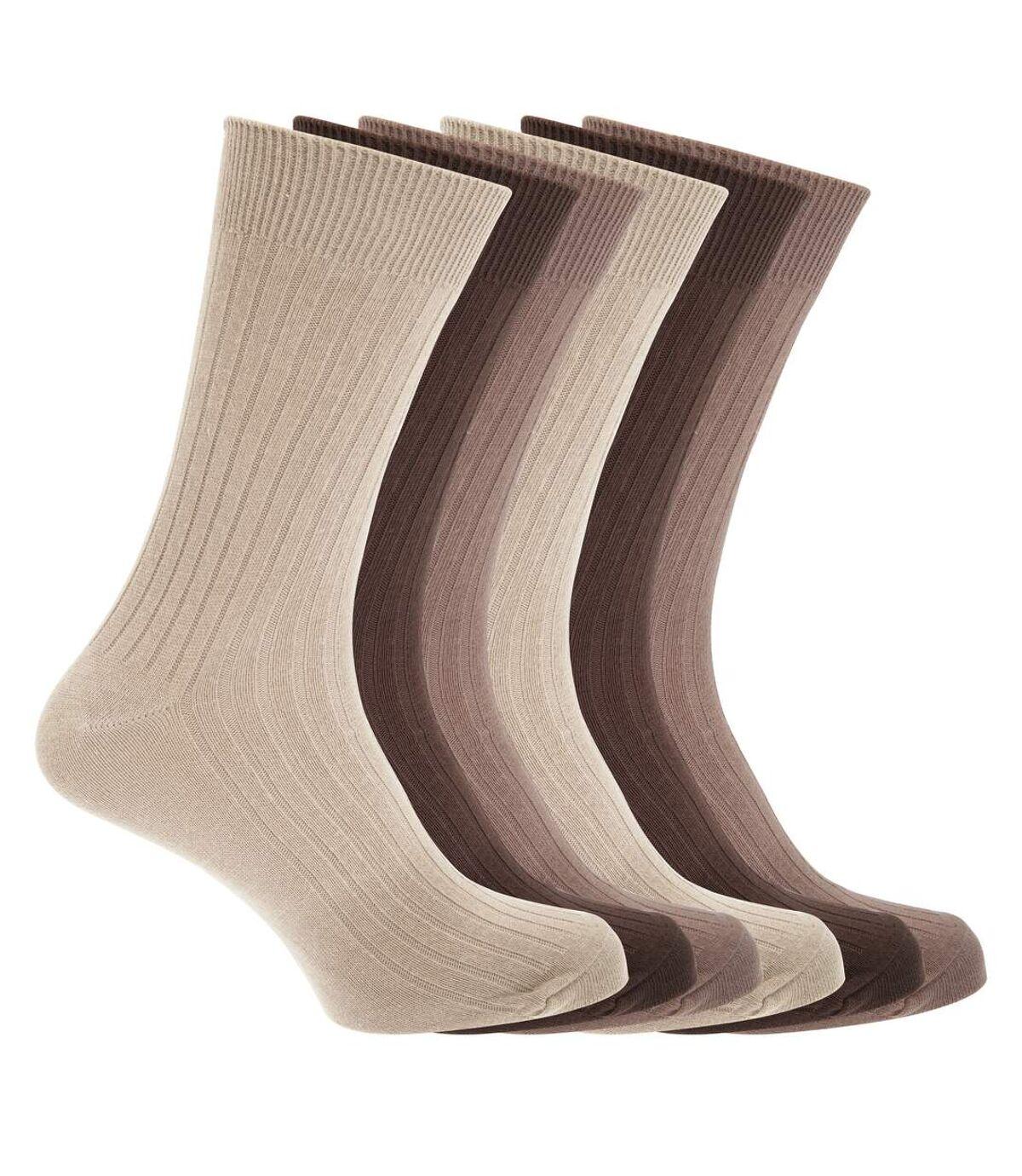 FLOSO Mens Ribbed 100% Cotton Socks (6 Pairs) (Dark Brown/Light Brown/Beige) - UTMB466