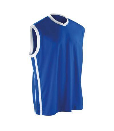 Spiro Mens Basketball Quick Dry Sleeveless Top (Royal / White) - UTRW4778