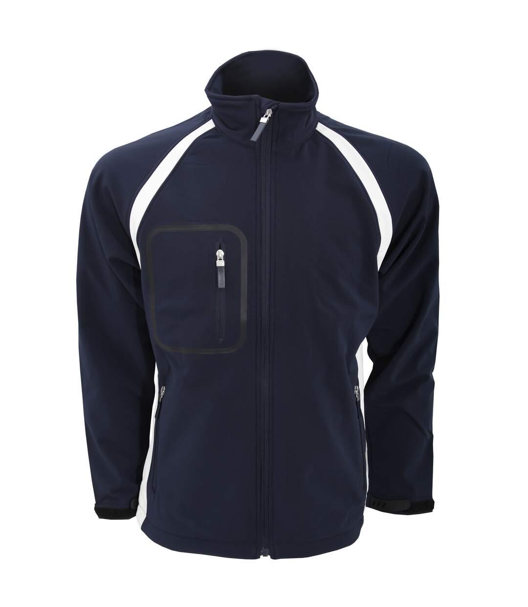 Finden & Hales Mens Team 3-Layer Softshell Sports Jacket (Navy/White) - UTRW442
