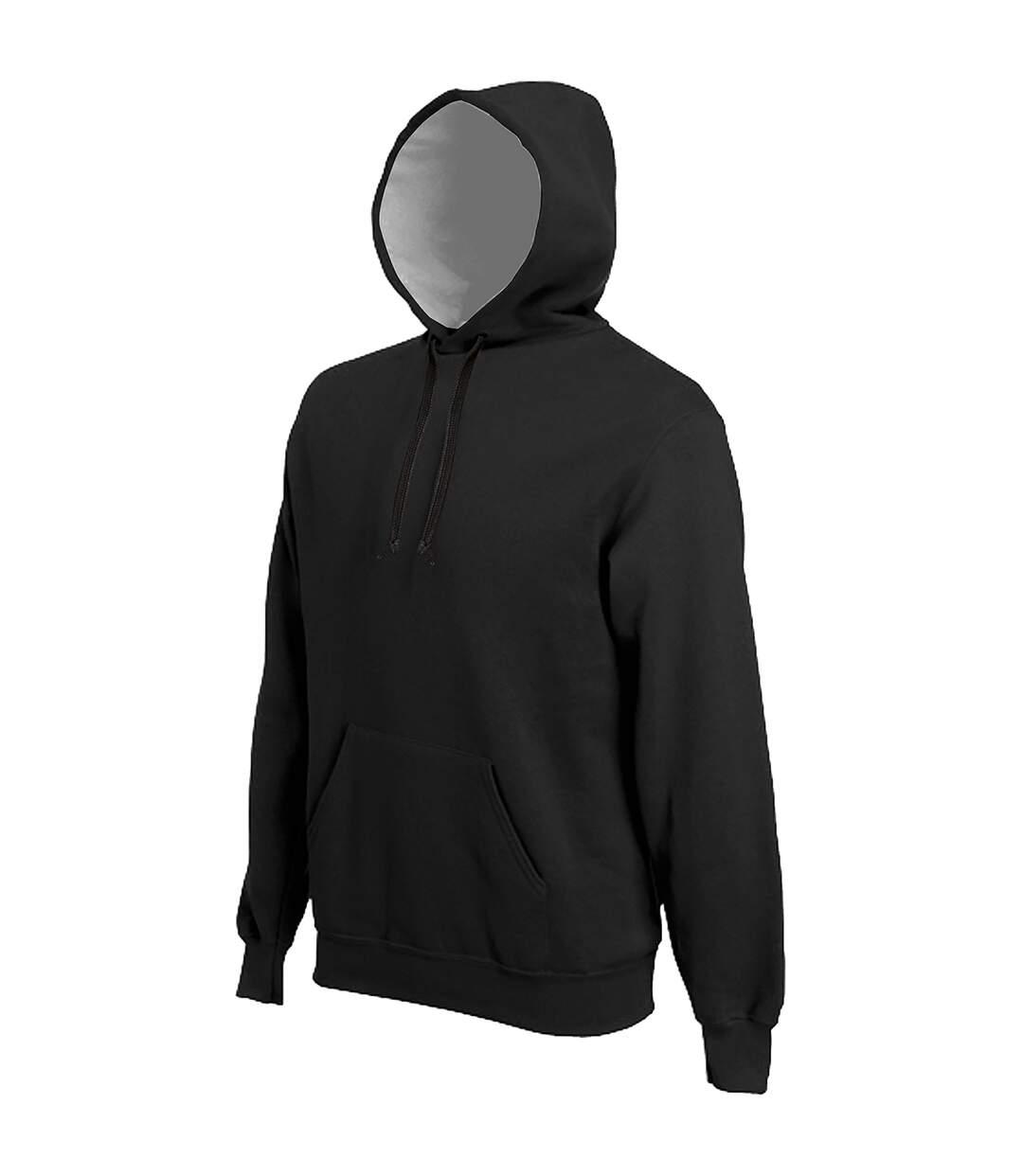 Kariban Mens Heavy Contrast Hooded Sweatshirt / Hoodie (Black) - UTRW717