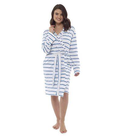 Womens Soft Cosy Jersey Cotton Striped Bathrobe
